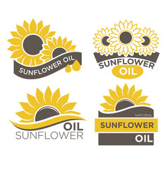 natural sunflower oil logotypes set vector image