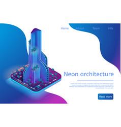 neon architecture building modern smart metropolis vector image