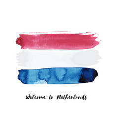 netherlands watercolor national country flag icon vector image