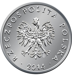 obverse Polish Money one zloty coin vector image