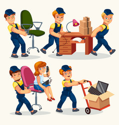 office moving colorful set vector image