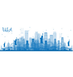 outline usa skyline with blue skyscrapers and vector image