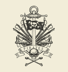 Pirate banner with ship anchor sabers and cannons vector