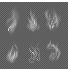 Realistic cigarette smoke waves on transparent vector