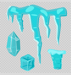 realistic ice caps snowdrifts and icicles broken vector image