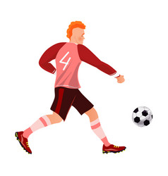 Red hair fashion modern soccer player dribbling vector