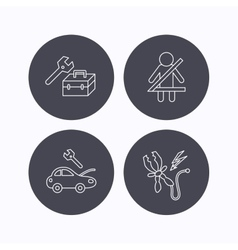 Repair battery terminal and car service icons vector image