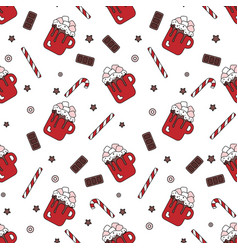 seamless pattern of sweets on a white background vector image