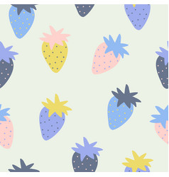 seamless pattern with strawberry in sketch style vector image