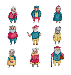 set old people character in real modern life vector image