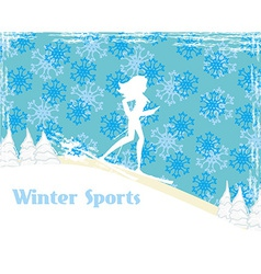slim girl skiing abstract card vector image