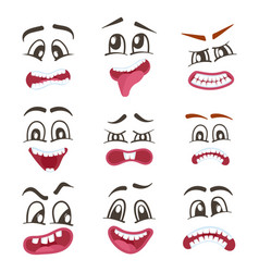 Smiley faces with different expressions set vector