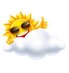 Smiling sun behind cloud vector
