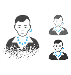 Sparkle dot halftone trendy gay icon with face vector