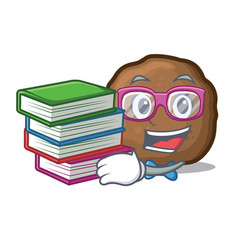 Student with book meatball mascot cartoon style vector