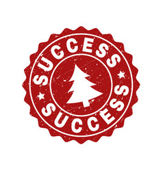 success scratched stamp seal with fir-tree vector image