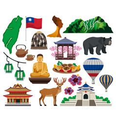 Taiwan travel flat set vector
