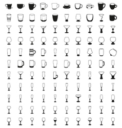 Tea and coffee cup glasses icon set vector image