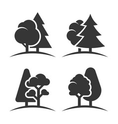 trees group logo set on white background vector image