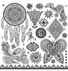Tribal vintage ethnic pattern set vector image
