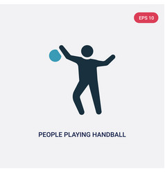 Two color people playing handball icon from vector
