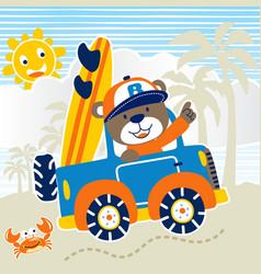vacation to beach with funny bear cartoon vector image