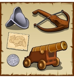 Vintage set of weapons and strategic items vector