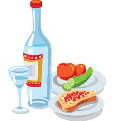 Vodka and caviar vector