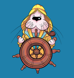 walrus captain on ship vector image