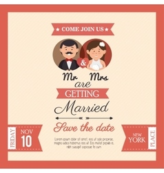 Wedding card mr mrs style vintage design graphic vector