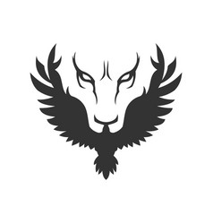 Wolf or lion face and bird icon vector