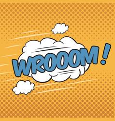 Wrooom wording sound effect for comic speech vector