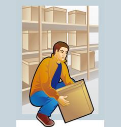 Young man lifting box colored drawing vector