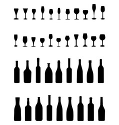 bottles and glasses vector image vector image