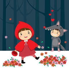 Little red riding hood and gray wolf vector image vector image