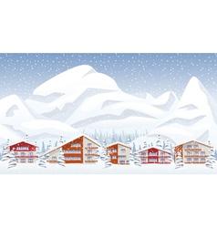 Mountain ski resort in winter vector image
