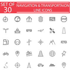 navigation line icon set transport signs vector image vector image