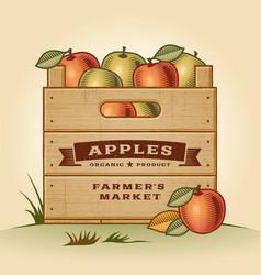 Retro crate of apples vector
