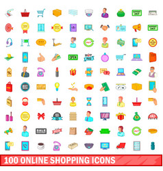 100 online shopping icons set cartoon style vector