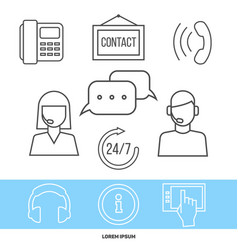 contact centre or online support concept with line vector image vector image