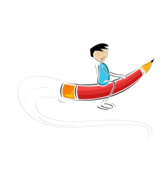 kid flying on pencil vector image vector image