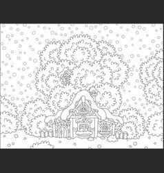 log hut snow-covered on christmas vector image vector image