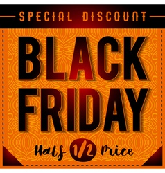Black friday sale banner on patterned orange backg vector image vector image