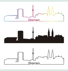 Bremen skyline linear style with rainbow vector image