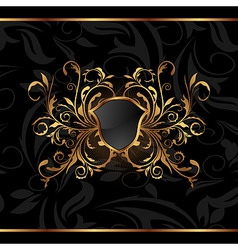 golden ornate frame with shield vector image