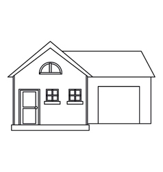house modern style with garage outline vector image