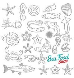 Set of Sketch Sea Food vector image