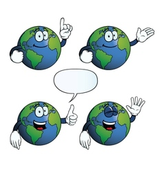 Smiling Earth globe set vector image vector image