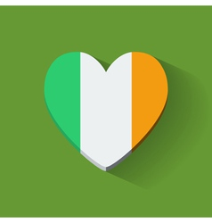 Heart-shaped icon with flag of Ireland vector image vector image