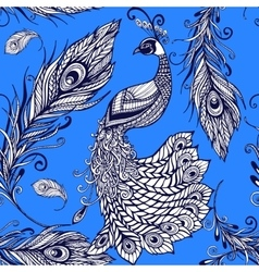 Peacock bird feathers seamless background pattern vector image vector image